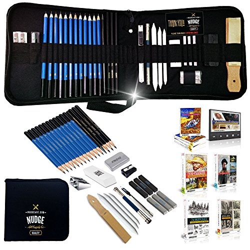 NUDGE Da Vinci 33 Piece Sketch & Drawing Pencils Studio - Includes Graphite & Charcoal Pencils, Sticks and Tools