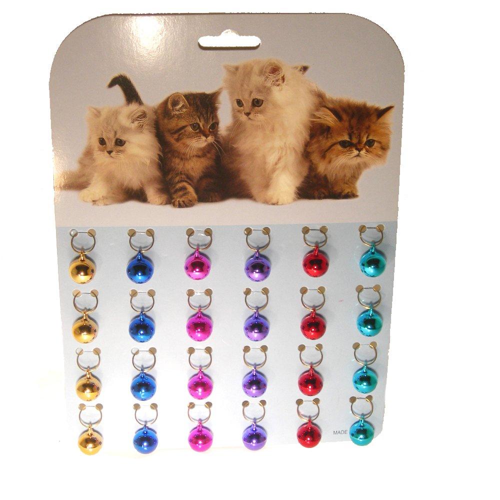 Cat A Lack Brass Cat Bells, 24 Per Card