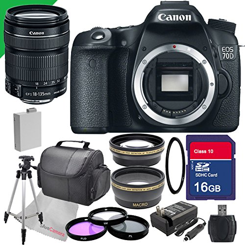 Canon EOS 70d Digital SLR Camera with 18-135mm STM Lens , Filter Kit, Wide Angle Lens, Telephoto Lens, Full Size Tripod, Memory Card with Sd Card Reader, Uv Filter ,Replacement Battery