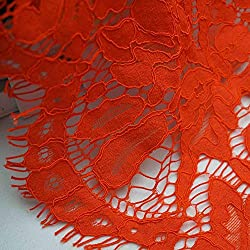 New 150cm*150cm Embroidery Eyelash Cotton Lace Fabric French Cord Lace Cloth Nigerian African Guipure Lace For Party Wedding Dress 13 oreange red