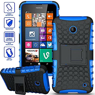 ElBolt TM 3 in 1 Bundle Nokia Lumia 635 / Nokia Lumia 630 Armor Grenade Stand Hard Gel Case -Blue with Free Ultra-Sensitive Stylus Pen and Premium Screen Protector by ElBolt TM from Generic