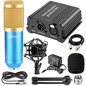 Neewer Professional Audio Condenser Microphone with Mic Shock Mount, 48V Phantom Power Supply, XLR 3 Pin Microphone Cable, Iron Mini Desktop Tripod fo