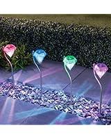 Changement de Couleur avec LED Acier inoxydable Énergie solaire de jardin en forme de 4 lanternes Énergie solaire)