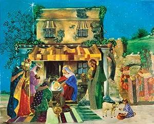 Caspari Entertaining with Caspari Christmas Pop-Up Advent Calendar, Nativity Scene