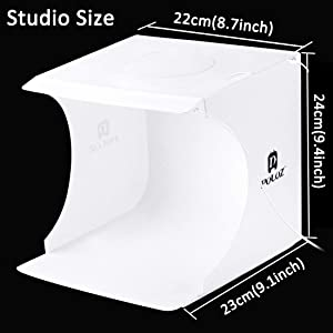 Mini Photo Studio Light Box,Photo Shooting Tent kit,Portable Folding Photography Light Tent kit with 20pcs LED Light + 6 Kinds Color Backgrounds for Small Size Products (Color: Black-studio)
