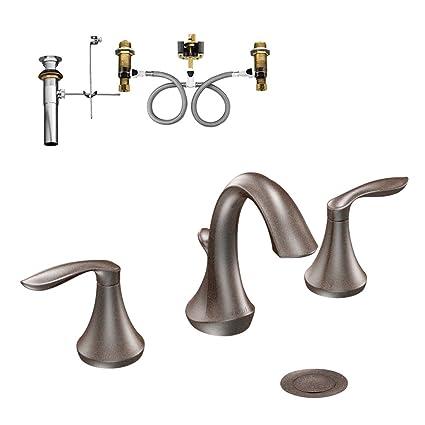Moen KLEV-D-T6420ORB Eva Two-Handle High-Arc Lavatory Faucet, Oil Rubbed Bronze
