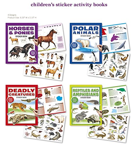 Horses and Ponies, Polar Animals, Deadly Creatures, Reptiles and Amphibians Animals Stickers 4 Sticker Activity Books 75 Stickers w/ Amazing Animal Facts Stickers for Kids, Boys, Girls