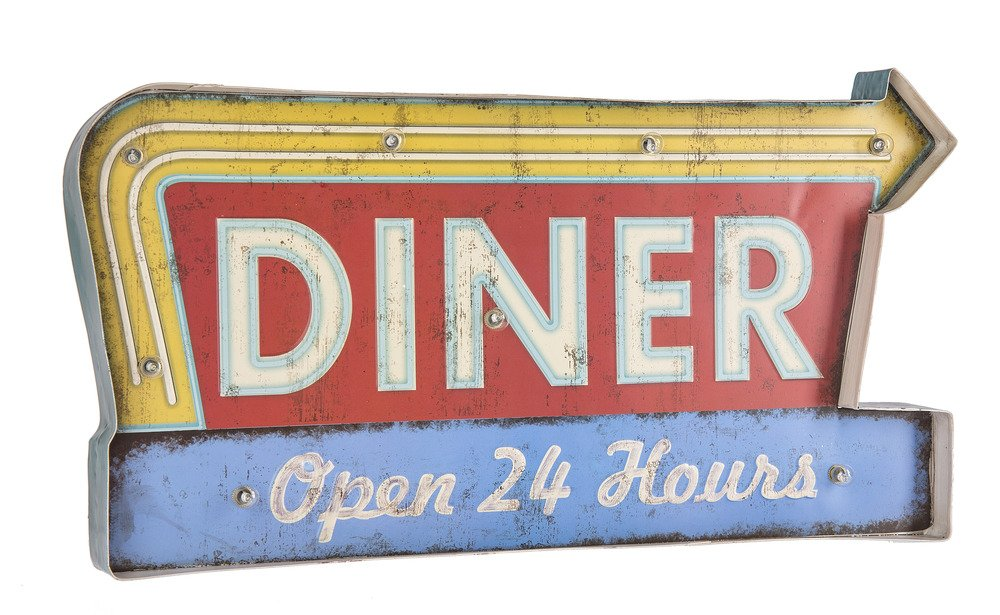 "Ganz 22"" Faux Vintage Light Up LED Sign Diner - Open 24 Hours with Faux Neon Arrow Design"