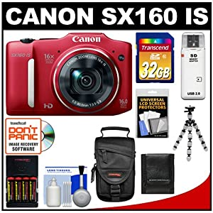 Canon PowerShot SX160 IS Digital Camera (Red) with 32GB Card + Batteries/Charger + Case + Flex Tripod + Accessory Kit