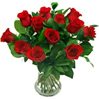Clare Florist 12 Luxury Red Roses Fresh Flower Bouquet