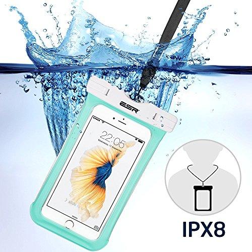 iphone6s/Samsung防水ケース ESR スマホ防水ケース 防水カバー 防水保護等級IPX8取得 水深30m防水テスト 安全ロック100%密封 内蔵ポケット付属 iphoneSE/5s/iPhone6s Plus/iPhone6s/Samsung Galaxyなど6センチ以下全機種対応 iphone6/6s携帯防水ポーチ グリーン
