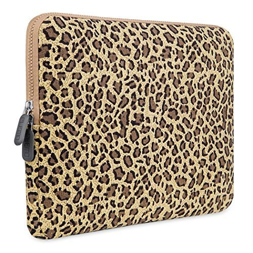PLEMO Sleeve per Laptop, Borsa per PC Portatili, Case Custodia per Netbook, Notebook, MacBook Air da 15-15.6 Pollici, Macchia di Leopardo Tessuto di Tela, Giallo