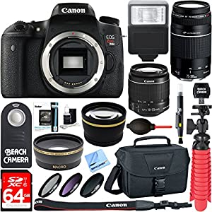 Canon T6s EOS Rebel DSLR Camera w/ EF-S 18-55mm & 75-300mm IS II Lens Kit + Accessory Bundle 64GB SDXC Memory + SLR Photo Bag + Wide Angle Lens + 2x Telephoto Lens + Flash + Remote + Tripod & More