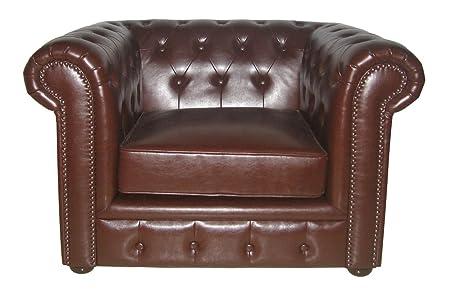 Premier Housewares Chesterfield Chair Antique Leather - 90 x 110 x 73 cm