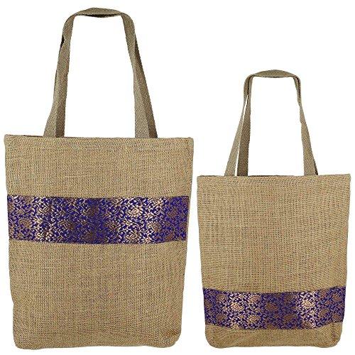 Set di 2 multiuso borse della spesa, iuta Shimmer, Natural Fiber-Eco frienly, non tessuti rivestimento JSSB_JSMB_808