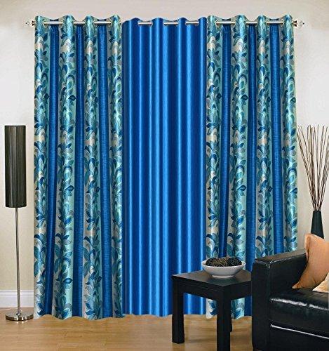 Excel Bazaar Blue Door Curtain 7 X 4 Feet ( Set of 3)