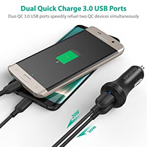 Quick Charge 3.0 Car Charger RAVPower 40W 3A Car Adapter with Dual QC USB Ports Compatible Galaxy S9 S8 Plus Note8 S7, Compatible iPhone Xs XR X 8 7 Plus, iPad, Tablet and More (Black) (Color: Black)