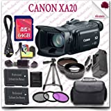 "Canon XA20 Professional Camcorder + 64GB SDHC Class 10 Card + 3pc Filter Kit + Wide Angle Lens / Telephoto Lens + 57"" Tripod + HDMI Cable + SLR Gadget Bag 17pc Canon Saver Bundle"