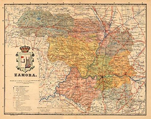 zamora-castilla-y-leon-mapa-antiguo-de-la-provincia-alberto-martin-c1911-old-map-antique-map-vintage