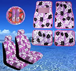 - 	 11pc Purple Hawaiian Print Car Mats Seat Steering Wheel Cover Se
