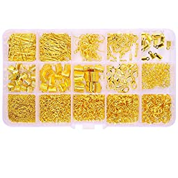 In A Box(1150pcs/box) Kit with 20pcs Iron Earring Hooks 780 Pcs Open Jump Rings 4mm 5mm 6mm 8mm & 15 Pcs Lobster Clasps 12mm & 45 Pcs Ribbon Clamp Crimps with Loop 6mm 8mm 10mm(Gold Plated)
