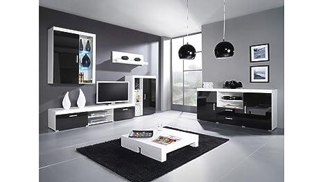 """BMF SAMBA """"C"""" Toilettenstuhl Kommode / SIDEBOARD / Wohnwand Schwarz Hochglanz IN weiß und Farbkombinationen mit Blau, Grun, weiße LEDs weiß / schwarz"""