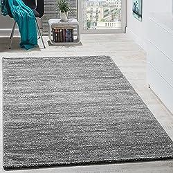 Teppich Modern Wohnzimmer Kurzflor Gemütlich Preiswert Meliert in Grau Creme, Grösse:60x100 cm