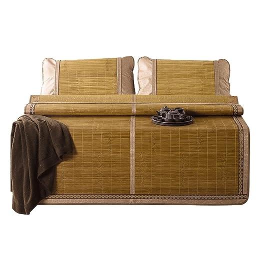 Bamboo Double face Manteau de couchage mat de l'étudiant Tapis de bambou d'été Doublé 1,5 m et 1,8 m ( Couleur : B+With 2 pillowcases , taille : 180*200cm )