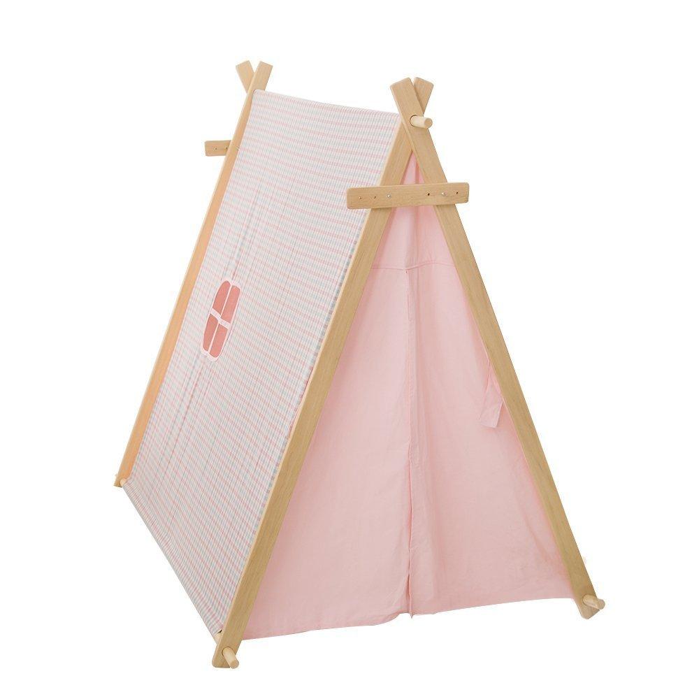 love tree Spielzelt for Kinder, Tipi-Triangle Pink Color No Window Indianerzelt Teepee - Vormontiert
