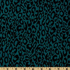 58'' Wide Venice Stretch Jersey Knit Leopard Teal Fabric By The Yard