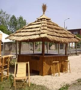 Tiki Bar 360 Degree - Tropical Kiosk w/ 8 Bar Stools & Thatch Roof