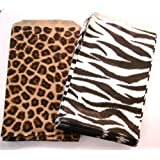 """100 of 4"""" X 6"""" Small Paper Bags 50 Cheetah Leopard & 50 Zebra Animal Print Party Retail Gift Holiday Wrap Wrapping Sacks"""