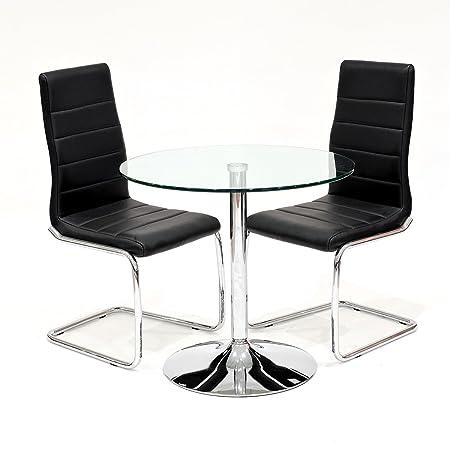 Klar Glas rund Esstisch mit 2x Schwarz Kunstleder Svenska Esszimmerstuhle