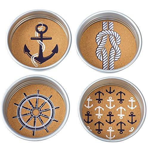 Mud Pie Anchor Mason Jar Coasters (Set of 4), Silver (Pie Mason Jars compare prices)