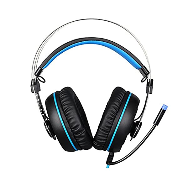 Sades A7 Two 3.5mm  Wired Stereo Noise Canceling LED Light PC Gaming Headset Headphones with Microphone Flexible for Laptop Computer Volume Control,Black/Blue (Color: EMNwA73.5b)