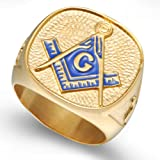 Jude Jewelers 18K Gold Plated Stainless Steel Masonic Ring (11) (Color: Gold)
