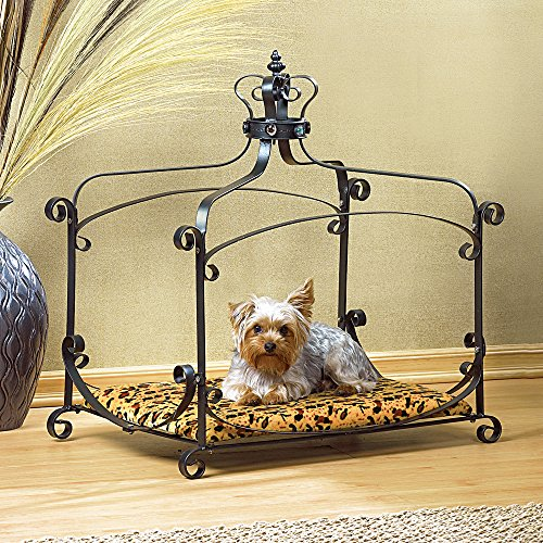 Metal Royal Princess Crown Canopy Dog Cat Leopard Pet Bed Furniture Small 25""