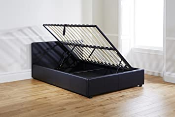Aspire Home King Size Side Lift Ottoman Storage Bed, 5 ft, Black