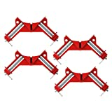 4 PCS Right Angle Clamp- Zilong Zinc Alloy 90 Degree Corner Clamp Quick-grip Corner Clamp DIY Woodworking Miter Picture Photo Frame Corner, Glass Holder (Color: Red)