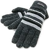 (シンサレート) Thinsulate 手袋 メンズ ニット グローブ ボーダー 高機能中綿素材 5color (Free, チャコール)