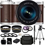 "Samsung NX300M 20.3MP CMOS Smart WiFi & NFC Compact Interchangeable Lens Digital Camera with 18-55mm Lens and 3.3"" AMOLED Touch Screen (Brown) + 32GB Bundle 16PC Accessory Kit. Includes Wide Angle & Telephoto Lenses + 3 Piece Filter Kit (UV-CPL-FLD) + 4 Piece Filter Kit (+1,+2,+4,+10) + 32GB Memory Card + Reader + Extended Life Replacement Battery (BP-1130) + Carrying Case + Full Size Tripod + Monopod + Microfiber Cleaning Cloth"