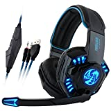 Professional Gaming Headset With LED Light,Ounice Noswer Surround Stereo Wired Gamer Headphone Headband Earphone USB 3.5mm with Mic for PC Phone (Black) (Color: Black)