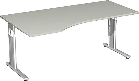 Gera Meubles de 618306S LG/SI PC de bureau gauche Lisbonne, 180x 100x 72cm, gris clair/Argent