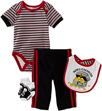 Vitamins Baby-boys Newborn Mom's Treasure 4 Piece Creeper Pant Set, Black, 3 Months