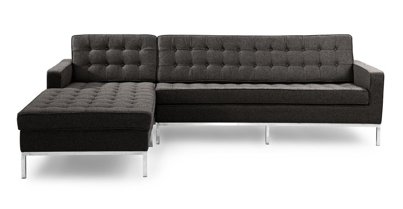 Kardiel Florence Knoll Style Sofa Sectional Left - Charcoal Cashmere Wool