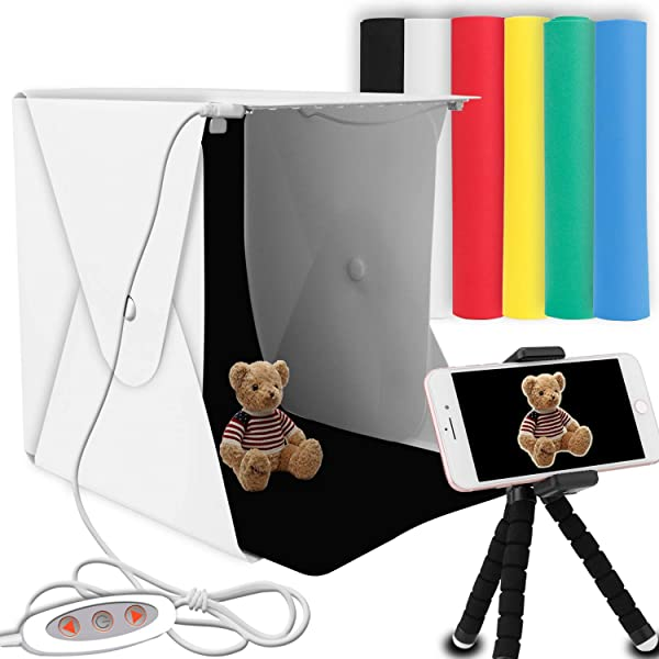 Portable Photo Studio, Elegant Choise Photography Studio Box Shooting Tent Mini Folding Table Top LED Light Box Kit with 6 Color Background (Color: Shooting Tent)