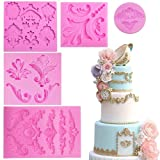 Baroque Style Curlicues Scroll Lace Fondant Silicone Mold for Sugarcraft, Cake Border Decoration, Cupcake Topper, Jewelry, Polymer Clay, Crafting Projects, 5 in Set by Palksky (Color: Pink)