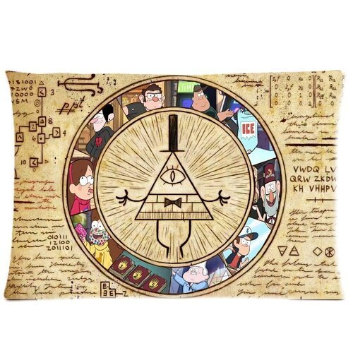 Chetery Funny Gravity Falls Bill Cipher Map Pattern Best Gifts Decorate Pillowcase Custom Pillowcase Soft Pillow Case Zippered Pillow Case Cover in Roomy Size 20x30(Two side) Fashion Design