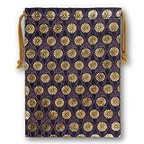 菊立涌 特製金襴巾着 紺色 (御朱印帳・納経帳・数珠等の仏具、着付け小物や貴重品の保管に美しい巾着袋)