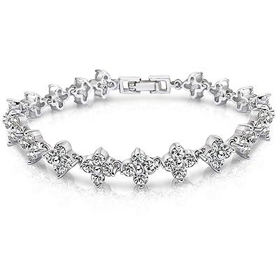 8a63abd310b2 7Ounces - Bracelet Femmes Filles - Bijoux Fantaisie Cristal Swarovski  Elements et AAA Ziconium Transparent - Cuivre Plaqué Or Blanc - Fête ...